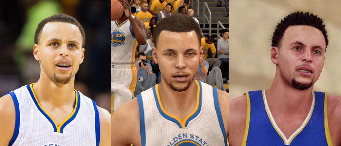 Stephen Curry in het echie, in Live 16 en in 2K16